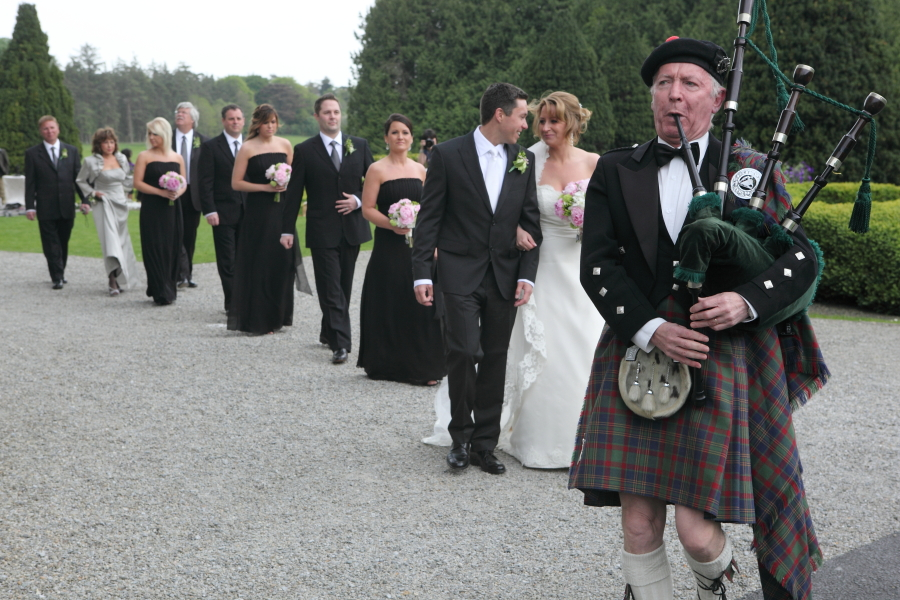 bride and groom, piper, adare manor.
