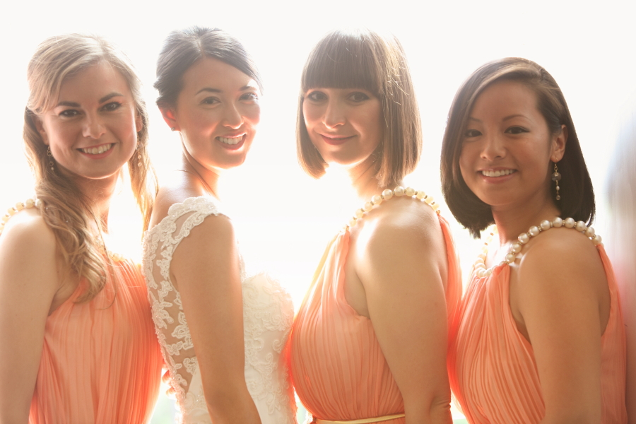 bridesmaids, weddings, orange
