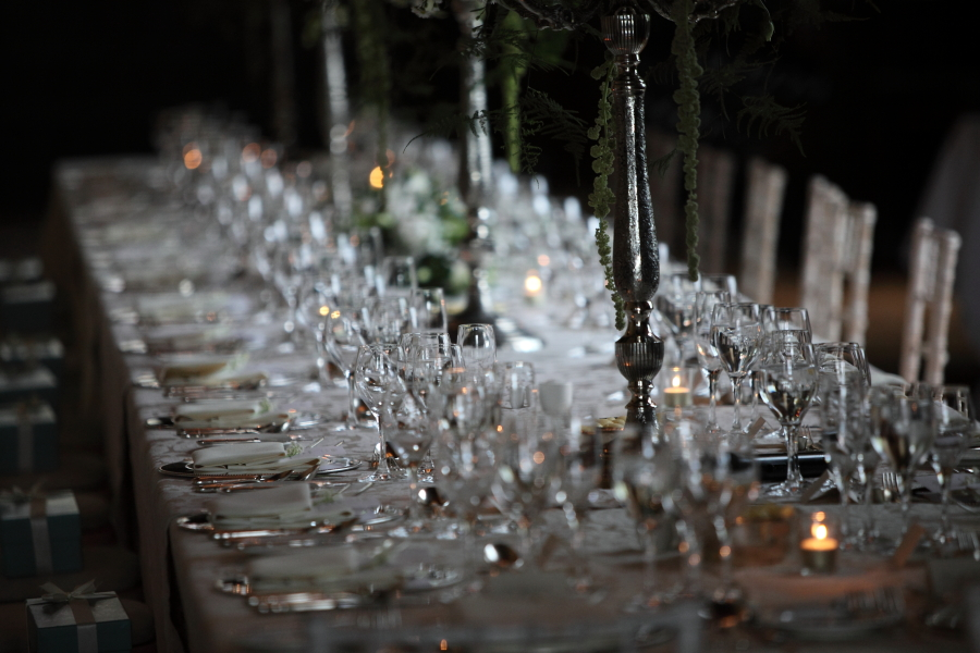 table settings, candelabra, wine, minstrels gallery.
