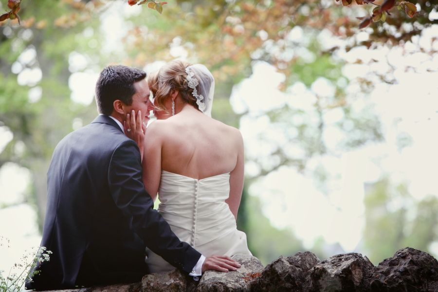 bride and groom kissing, romance, love