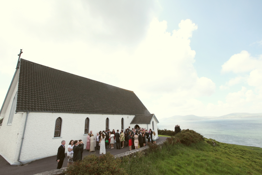 wedding guests, church, hilltop church