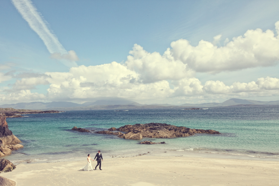 walking on beach, kerry wedding
