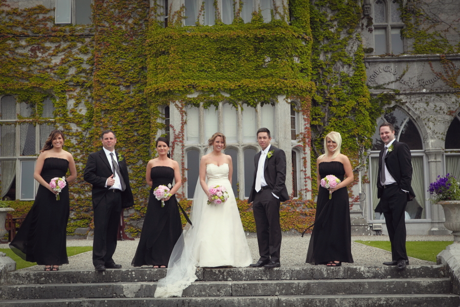 bridal party, black-tie wedding, adare manor weddings