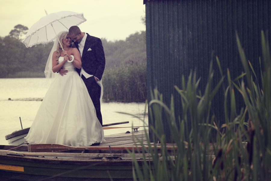 bride and groom image in the rain, love, weddings, dromoland castle weddings