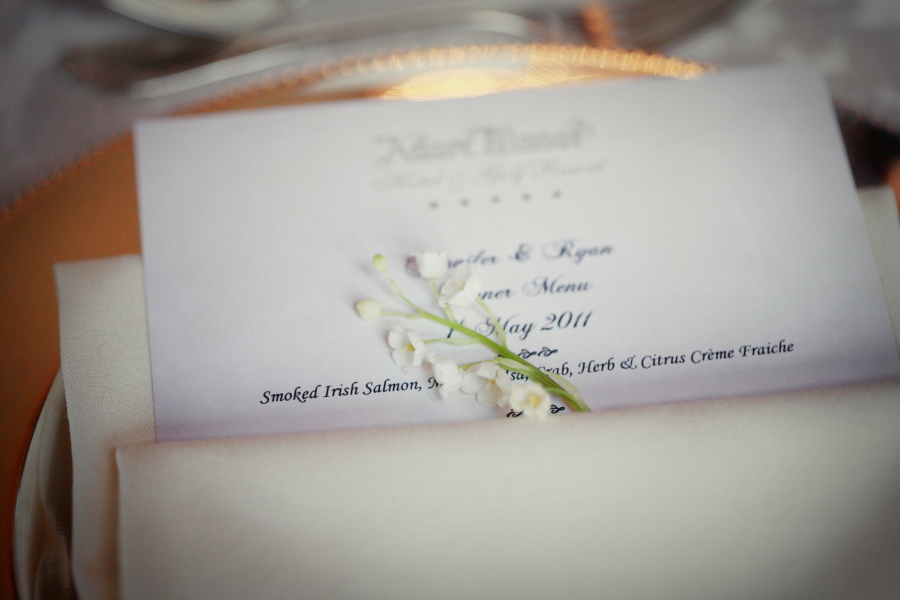 wedding menu, adare manor weddings, table settings.