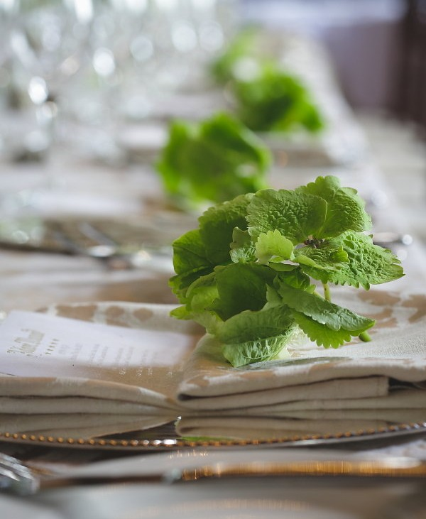 Place setting hydrangea sitting on top of napkin