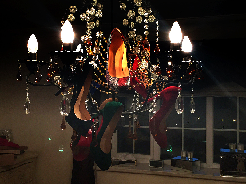 shoes on chandelier