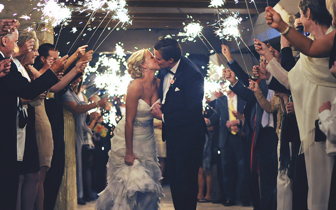 Kissing under the sparklers