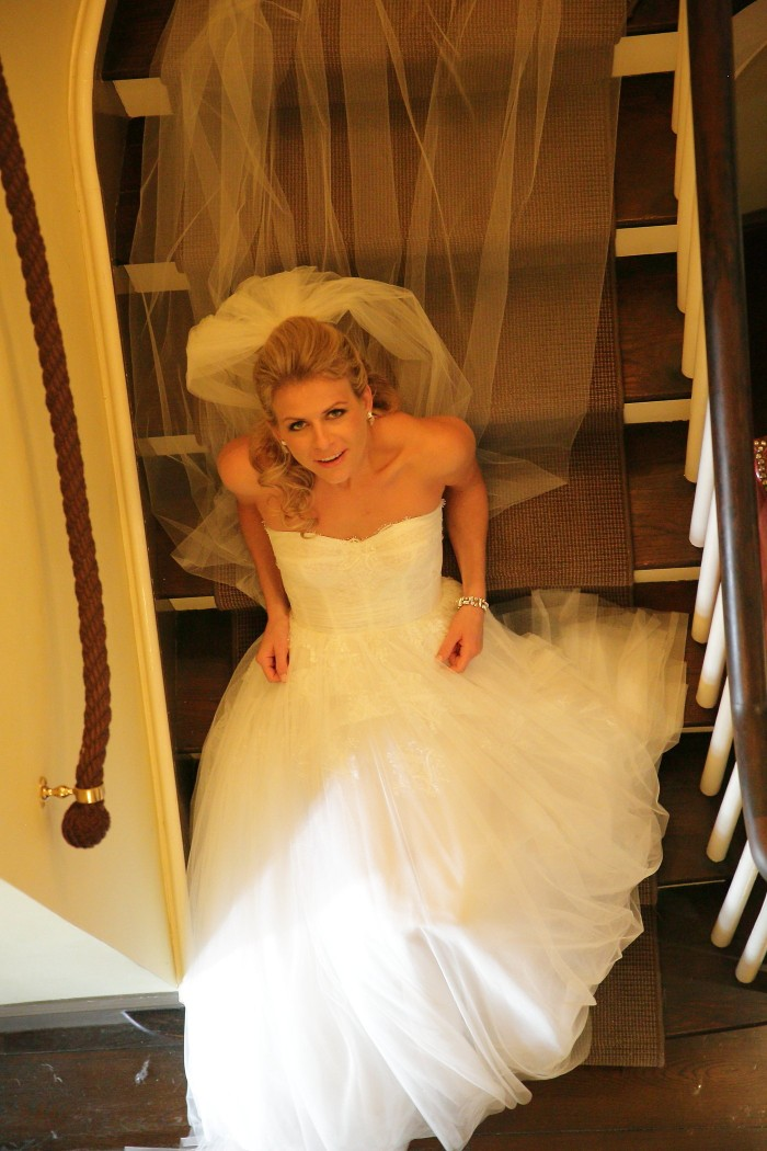 BRide on stairs lking up