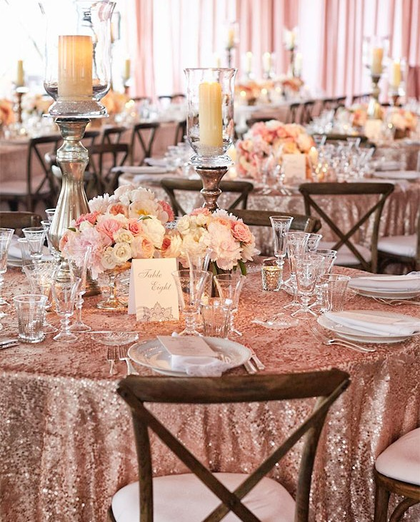 sparkle rose pink table scape