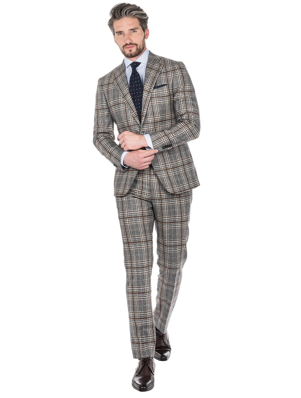 Louis Copeland - Grey Brown Overcheck Two-Piece Suit