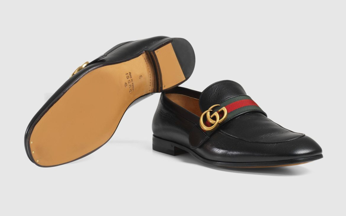 Gucci - Leather Loafer with Double G & Web
