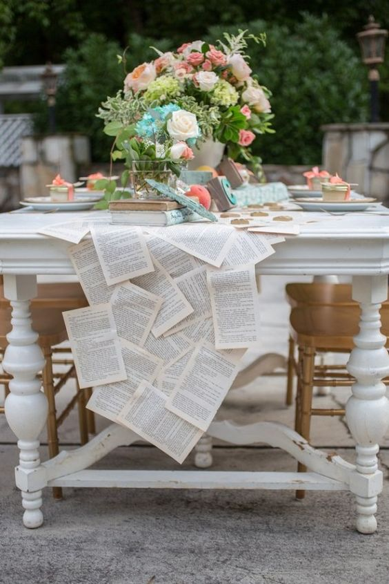 Table runner made out of book pages