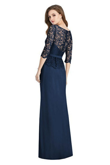 Jenny Packham - Long Sleeve Illusion-Back Lace Peplum Maxi Dress
