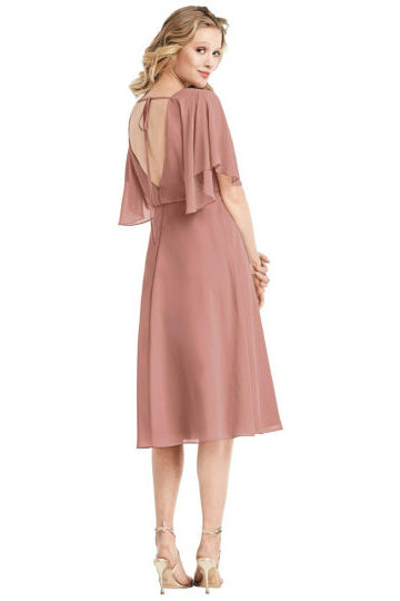 Jenny Packham - Flutter Sleeve Open-Back Cocktail Dress