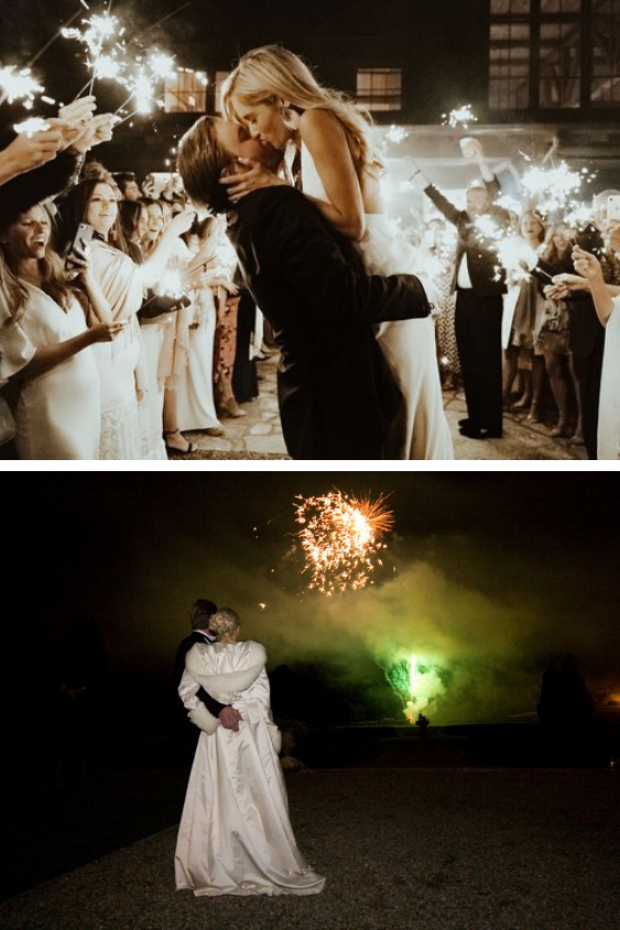 Sparkle Wedding Photo and Fireworks at a Wedding