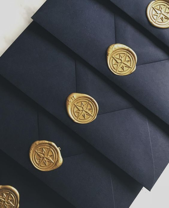 Wax Sealed Envelopes for Nautical Wedding